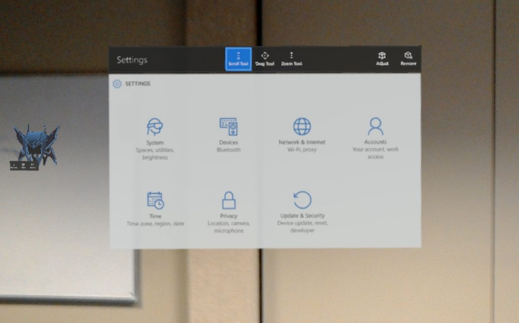 The HoloLens menus and apps have the well known Windows 10 look and feel.