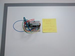 The acceleration sensor, a Teensy 3.2 microcontroller and a wireless transmitter -- attached to the entrance.