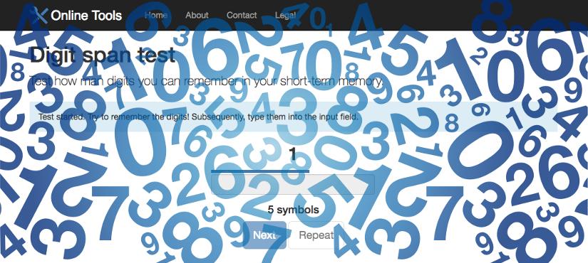 Digit Span Test (Online Tool)